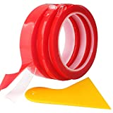 RUNCCI 20 mm × 9 m de ruban adhésif double face transparent, Lot de 3 Rouleaux Ruban Autocollant Haute Performance 6/10/20 mm Largeur (Rouge) + (plus: Grattoir)