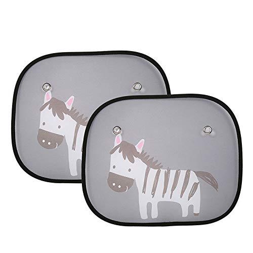 ZYTC 2 stücke Baby Auto Fenster Sonnenschutz Auto Sonnenschutz Protektoren mit Cartoon Zebra Muster zu Blockieren schädlicher UV Strahlen & Wärme für Kinder Kind Haustiere (Zebra)