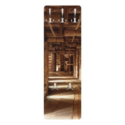 Apalis 78466 Wandgarderobe Alte Goldmine | Design Garderobe Garderobenpaneel Kleiderhaken Flurgarderobe Hakenleiste Holz Standgarderobe Hängegarderobe | 139x46cm