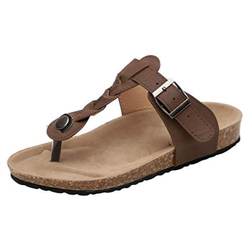 chtene Zehe Flip-Flops Flache Schuhe Römische Damen Sandalen Sommer böhmischen Strand Tanga Hausschuhe Flache Outdoor Schuhe Damen Hausschuhe Toe Separator❤❤ ()