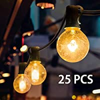 Mture Guirlande Lumineuse, Guirlande Guinguette Raccordable avec 25 Ampoule Blanc Chaud G40 Lampes Cordes, Décoration intérieur et extérieur pour Patio, Café, Jardin, Décoration de Parti