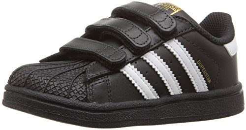 adidas Originals Kids' Superstar Foundation CF I Sneaker, Black/White/Black, 7 M US Toddler