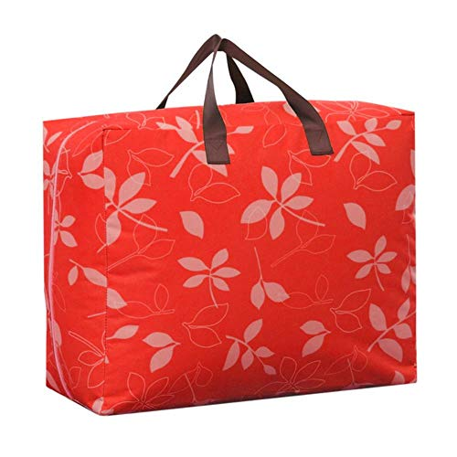 lili Portable Quilt Storage Bag Oxford Folding Case Organizer for Clothes Blanket Candy Colors Closet Storage Box Bedding Containter,red Leaf,L about58x39x23cm -
