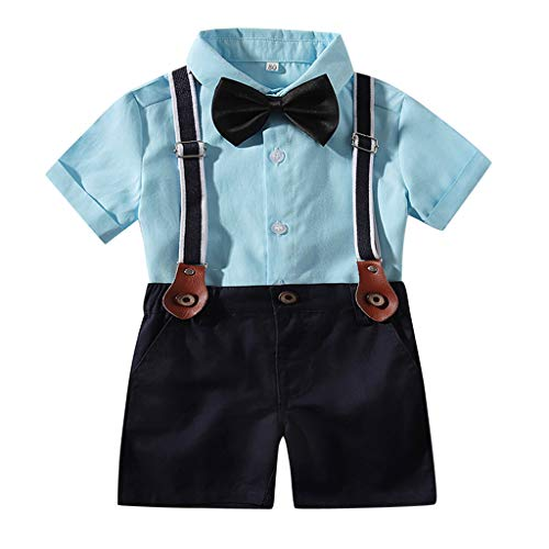 LEXUPE Infant Baby Boys Gentleman Tops T-Shirt Hosenträger Strap Shorts Set Outfits(Blau,80)