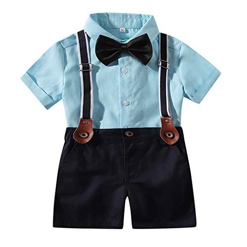 Fenverk_Baby Kleidung, Baby Jungen Sommer Gentleman Bowtie Kurzarm Shirt + Hosenträger Shorts Outfit Set (Blau-02,6-12 Monate)