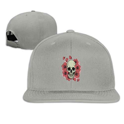 Sugar Skull and Flowers Snapback Hat Solid Flat Bill Baseball Cap Men Gray