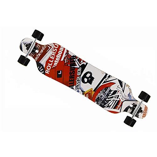 MCTECH 41 Zoll Longboard Retro Skateboard Cruiser Board Funboard Fancy Board Komplettboard Mit ABEC-9 High Speed Kugellager (schwarz-weiß-rot)