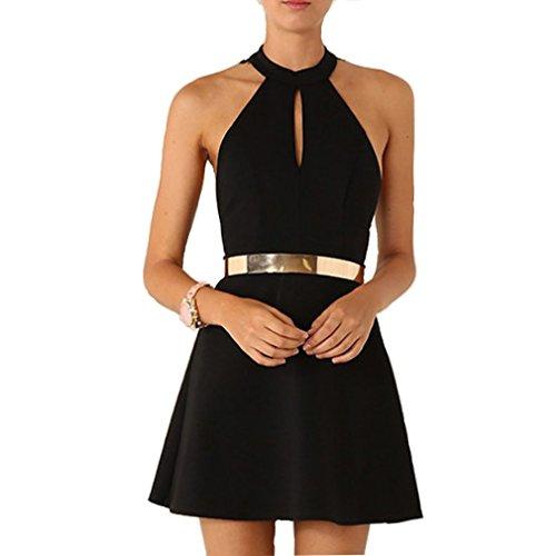 Sexy Damen Jumpsuit Sommerkleid Knielang A-Line Rundhals Rückenfrei Abendkleid Kleider für Hochzeit Party Freizeit Cocktail (M) Shirting Kleid