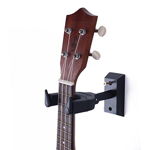 Ukulele Wand Aufhänger Auto-Lock-Sicherheit Wandhalterung Halter Holz, Gitarre Hänger und Mandoline Aufhänger schwarz