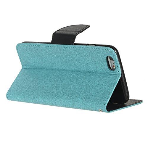 BONROY® Coque pour Apple iPhone 6 / 6S Plus (5,5 pouces),Housse en cuir pour Apple iPhone 6 / 6S Plus (5,5 pouces),datura étui en cuir PU Cuir Flip Magnétique Portefeuille Etui Housse de Protection Co bleu