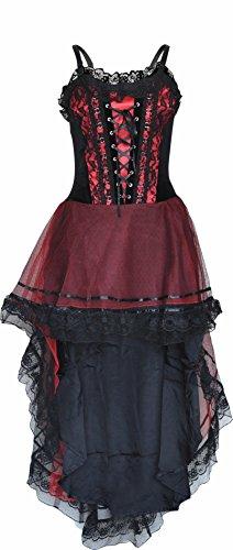 Gotisch, Korsett, Vampir Viktorianisch Mädchen langes Kleid Halloween-Party-Schwarz Klein (Viktorianischer Vampir Kostüme)