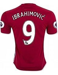 Maillot football Domicile Manchester United FC 2016/17, Zlatan Ibrahimovic, numéro 9, rouge