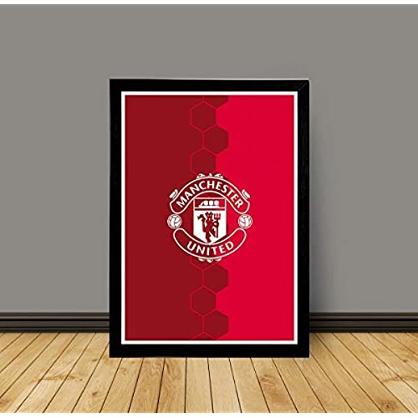 interio crafts manchester united logo glass poster with wooden black frame paper 200 gsm 12x8 inches amazon in home kitchen interio crafts manchester united logo
