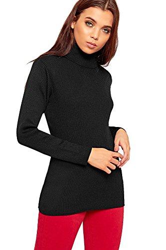 WEARALL Femmes Tricoté Polo Cavalier Dames Loungeue Manche Strié Élevé Roulent Cou Haut - 36-42 Noir