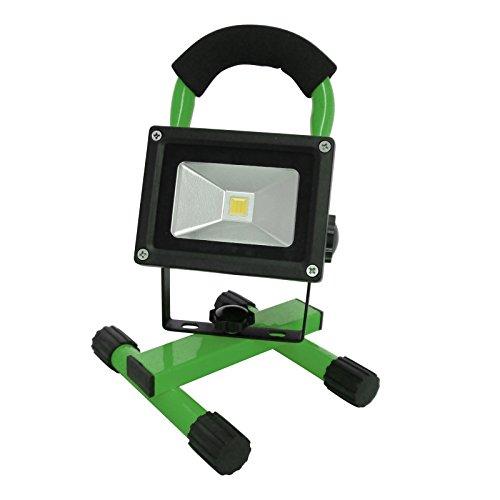 Grafner® Akku-Baustrahler LED 10 Watt 800 LM 2200 mAh 6000K 2x Ladegerät (230V Ladegerät und KFZ-Ladegerät) Strahler Fluter Akku Lampe Campinglampe Flutlicht (grün)