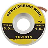 SCHOFIC 5 Feet 3MM BGA Desoldering Wick/Desolder Remover Wick Braid/Soldering Accessory Metal Color Tin (1)