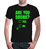 buXsbaum Herren Unisex Kurzarm T-Shirt Bedruckt T-Shirt Are You Drunk | Party Spruch Humor | L Black-Neongreen Schwarz
