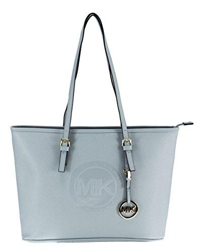 MIK Glamour Trendy Elegant Damen Schultertasche Handtasche PU-Ledertasche Grob (Sky Blue)