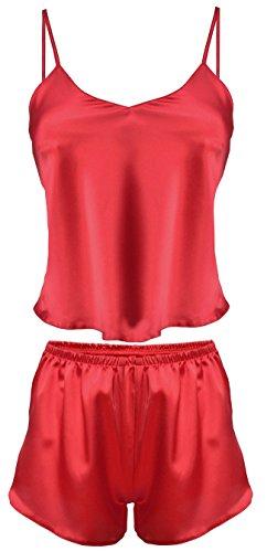 Dkaren-Nachtwäsche Damen Wäsche-Set aus Satin KAREN L / Rot
