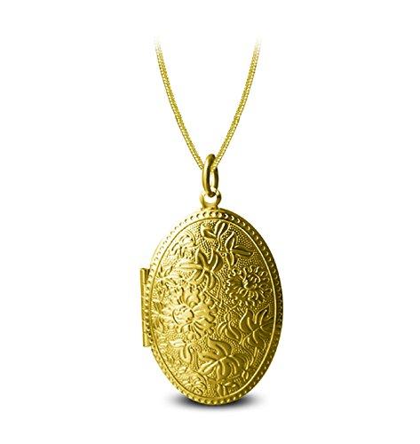 on zum öffnen mit kette Blume Oval Damen Herren Hlaksette mit Anhänger Gold (Gold Medaillon Halskette)