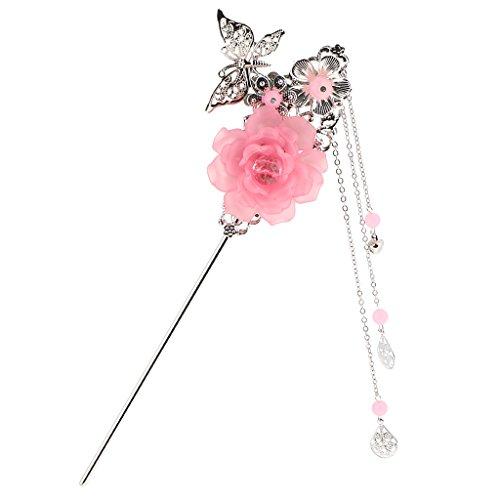 hion Blume Schmetterling Anhänger Quaste Perlen Chinesischen Palast Hanfu Kleid Haar Stick Für Kimono Lady - Rosa (Kleid Für Grils)