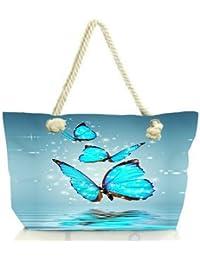 Snoogg Blue Butterfly Digital Women Anchor Messenger Handbag Shoulder Bag Lady Tote Beach Bags Blue