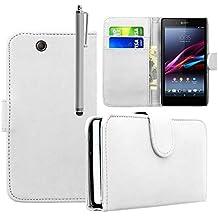 Funda Carcasa cartera Cuero PU para Xperia Sony Z De Ultra XL39H C6802/ LTE C6806 C6833 - BLANCO + lápiz óptico