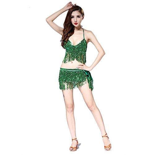 Hougood Latin Kleider für Damen Bauchtanz Kostüm Latin Indian Bauchtanz Pailletten BH Top + Sexy (Kostüm Im Tango Tanz)