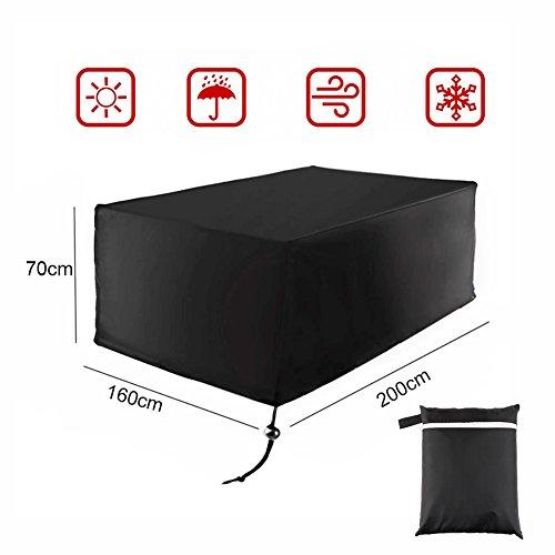 Yzcx copertura protettive per mobili da giardino 210d oxford poliestere copritavolo da giardino impermeabile con laccetto 200 x 160 x 70 cm