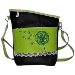 pinkeSterne ☆ Handtasche Umhängetasche Schultertasche Kunstleder Handmade Bestickt Stickerei Handmade Grün Schwarz Pusteblume