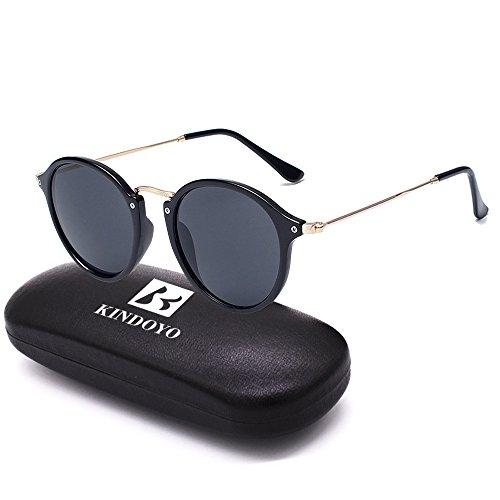 BOZEVON Retro runde Sonnenbrille Herren Damen Metall Eyewear Schwarz-Schwarz