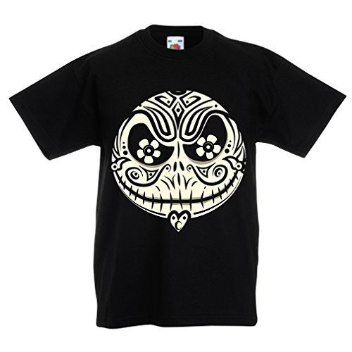 Lepni.me t-shirt per bambini il volto del cranio - l'incubo - notte di halloween spaventosa (9-11 years nero