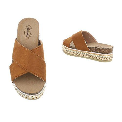 Ital-Design Pantoletten Damenschuhe Sandalen Sandaletten Camel G-79
