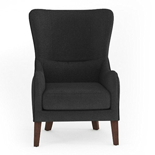 Jellywood® MCRAL Polster Lese-Ohrensessel mit Dicker Sitzmatratze, Armlehnen und hoher Rückenlehne, Sitzhöhe 45 cm Schwarz