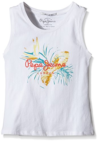pepe-jeans-honey-t-shirt-uni-fille-blanc-white-fr-8-ans-taille-fabricant-8-ans