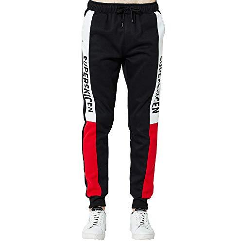 Somesun uomo splicing stampato tuta da lavoro casuale tasca sport lavoro formazione pantaloni sportivi,lavoro invernali elegante jeans pantaloni uomo felpati (rosso-1, s)