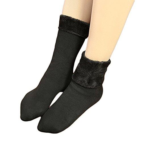 Damen Fleece-Gummistiefelsocken in 3 Größen, wärme winter thermosocken für Stiefel von COIN, Dick mit Plüsch, 1 x Schwarz, Gr. 35-42 (Damen Welly Fleece Sock)