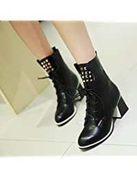 &ZHOU Botas otoño y del invierno botas cortas mujeres adultas 'Martin botas botas Knight a6 , black , 37