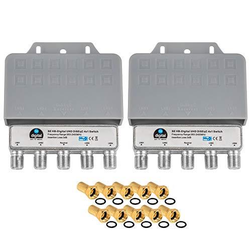 2X DiseqC Schalter Switch 4/1 mit Wetterschutzgehäuse HB-DIGITAL 4X SAT LNB 1 x Teilnehmer / Receiver für Full HDTV 3D 4K UHD + 10 x Vergoldete F-Stecker Vergoldet 3d Full Hdtv