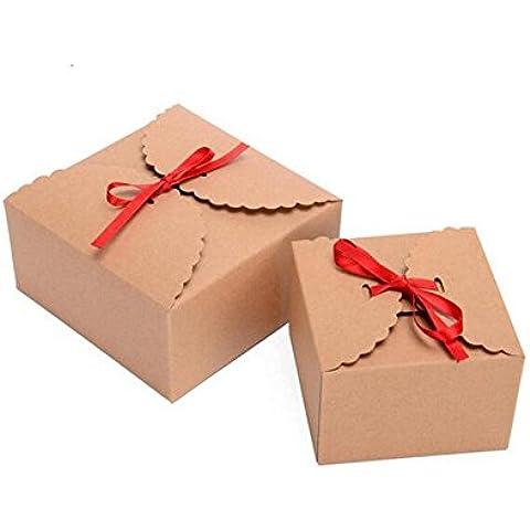 10pcs Cajas de papel de estraza para regalo DIY hecho a mano jabón embalaje y cajas de cartón cuadradas para tartas color marrón 3,5x 3,5x 2,4cm