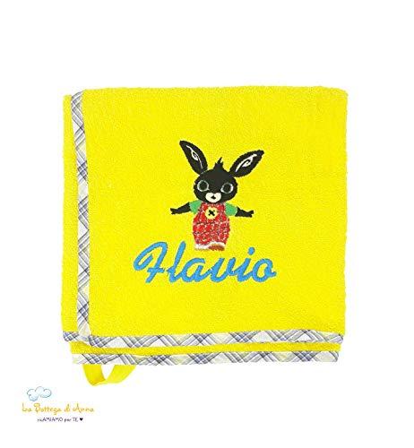 Asciugamano in spugna di cotone coniglietto bing - personalizzato con ricamo del nome - disponibile in diverse misure (50x30 cm)
