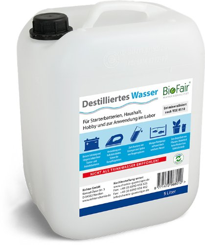 Agua desmineralizada BioFair® (25 litros) de acuerdo con VDE 0510 - 5 x 5 l Agua Destilada - envío gratis