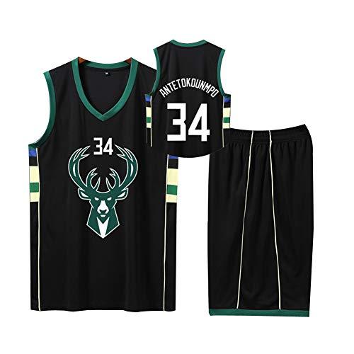 JONOLAE Basketball Jersey für Herren 34# Bucks Giannis Antetokounmpo Herren XS-XXXXXL Basketball Schnelltrocknendes Sweatshirt-Black-S -
