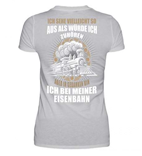 Shirtee Hochwertiges Damen Organic Shirt - Eisenbahn - in Gedanken Bin Ich Grau (Meliert)
