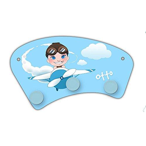 Wand-Garderobe mit Namen Otto und Motiv mit Pilot & Flugzeug für Jungen | Garderobe für Kinder | Wandgarderobe