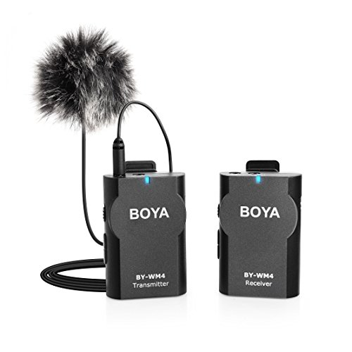 BOYA BY-WM4 Wireless Lavalier Lapel Mic, Omnidirectional Mic System Audio Recording with Easy Clip On, 3.5mm Plug for Canon Nikon Sony DSLR Camera, Camcorder, iPhone 7 / 7 plus 419gCZsIi3L