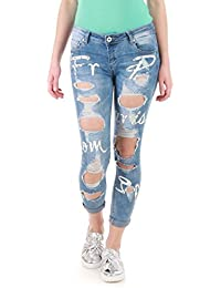 La Modeuse - Jeans destroy à message