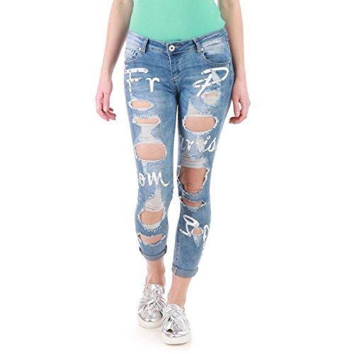 La Modeuse - Jeans coupe slim effet délavé avec écussons Bleu Clair