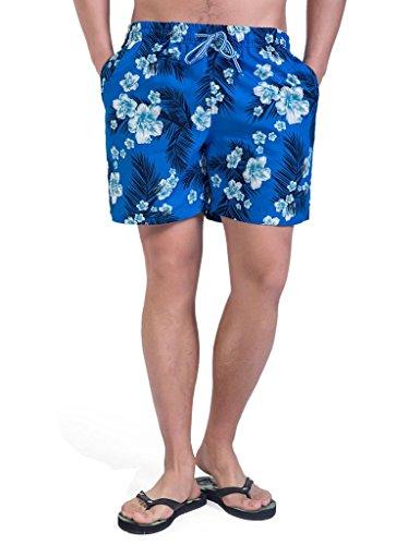Magic-Power-Mens-Palm-Impresin-Cintura-elstica-de-malla-de-revestimiento-Shorts-de-tablero-de-estilo-hawaiano-S