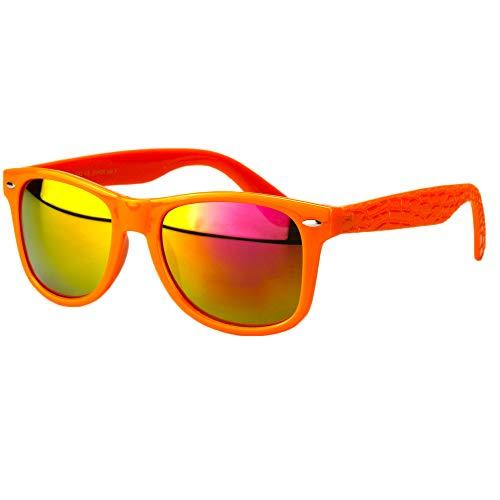 Sense42 | Retro Sonnenbrille | Vintage-Look für Damen und Herren | verspiegelte Gläser | mit Federscharnier-Bügel | Kroko Design | schwarz, blau, grün, orange, silber